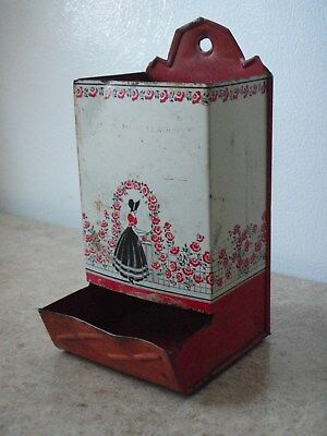 Antique Tin Match Box Safe Holder Wall Mount Red Black Woman's Silhouette