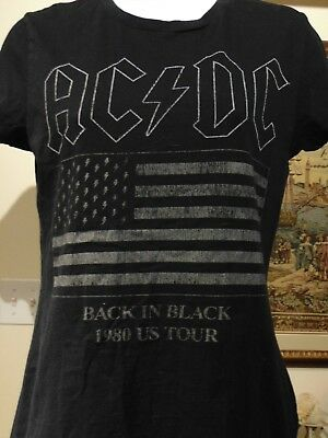 AC/DC Vintage Women's Back In Black U.S Tour 1980  T Shirt Small