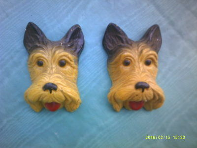 """Set of Two Old Vintage Hand Painted Scottish Terriers """"Scotties"""" Decorations"""