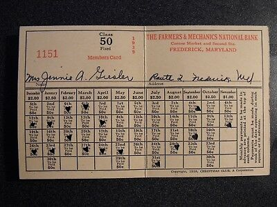 The Farmers & Mechanics National Bank Christmas Club Members Card-1939