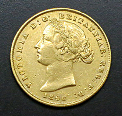 1866 Australia One Sovereign Gold Coin - 1/4 Oz Gold - Km#4