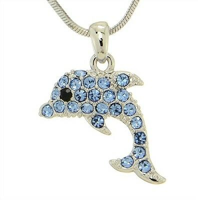 "Dolphin W Swarovski Crystal Blue Ocean Beach Sea Marine Animal Pendant 18"" Chain"