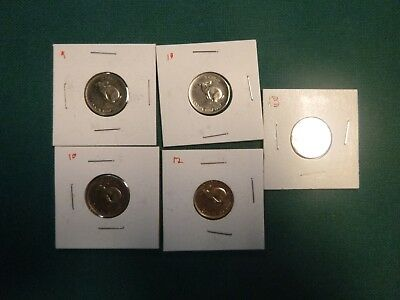 1967 canadian nicke and 1 ,1965 nickel .,lot of 5 coins