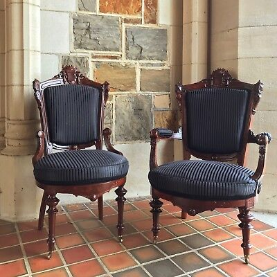 John Jelliff Victorian Renaissance Revival armchair and side chair