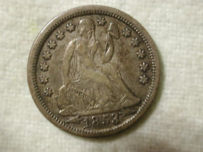 1853 U.S Liberty Seated Dime Variety 3 with arrows extra fine