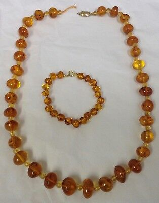 Vintage Amber Necklace (needs re-stringing) and bracelet (knotted)