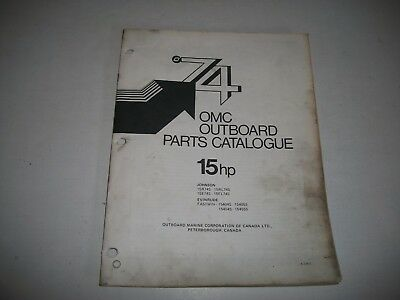 1974 Evinrude & Johnson 15 Hp Outboard Engine Illustrated  Parts Catalog