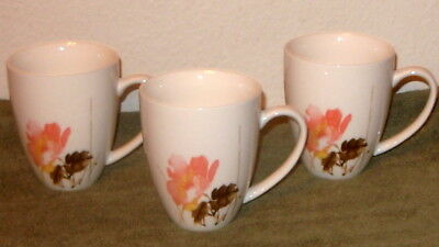 "3 Xlnt ONEIDA 'Amore' TALL Porcelain COFFEE MUGS 4 3/8"" Pink/Yellow/Tan/Brown"