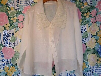 Antique/Vintage Edwardian/Victorian Cotton Blouse 1910-20's Embroidered Lace