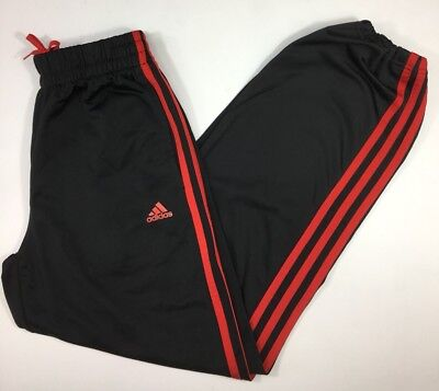 ADIDAS Boys Track Pants Windbreaker Black Striped Sweats Size Large 14-16 Kids