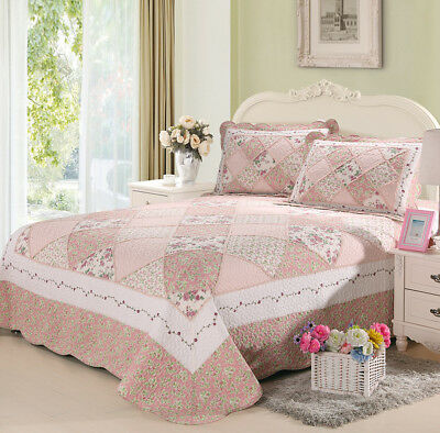 100% Cotton Coverlet / Bedspread Set Quilt Queen King Size Bed 230x250cm Pink