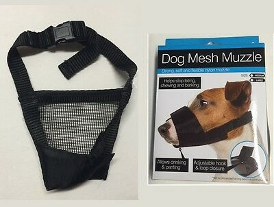 Mesh Muzzle for Dog - M - L - Adjustable - Flexible - Allows Drinking & Panting