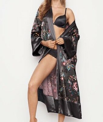 NEW Victoria's Secret Pockets Long Satin Sexy Black Grey Floral Kimono Robe S XS