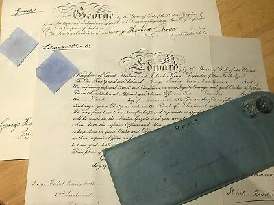 Boer War / WW1 Commission Certificates in envelope to Royal Scots no medals