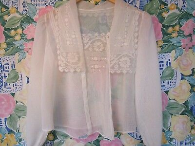 Antique Vintage Edwardian/Victorian Blouse 1910-20's Hand Lace, Blue Bird Label