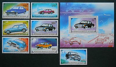 Motor Cars Mongolia, 1989 complete set of 7 MNH/Unmounted stamps and S/Sheet