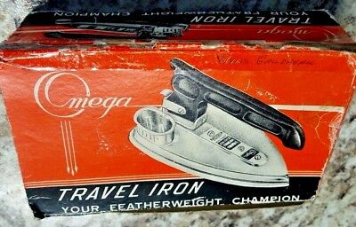 Vintage Travel Iron Omega Deyonco Japan w Folding Handle Cat. No. 420 Used