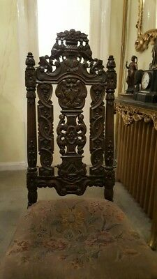 Antique furniture - carved oak hall chairs