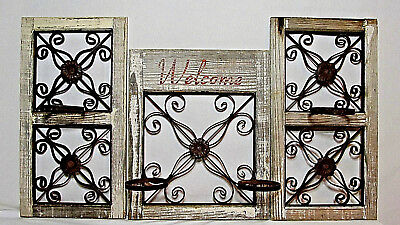 VTG Rustic Country Wood Iron Metal Scroll Garden Decor Wall Fence Window Holders