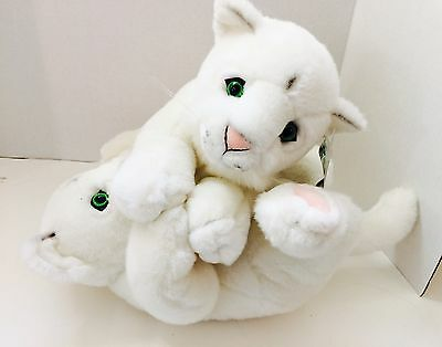 Rare SIEGFRIED AND ROY PLUSH WHITE TIGER CUBs Wrestling Mirage HOTEL CASINO C1