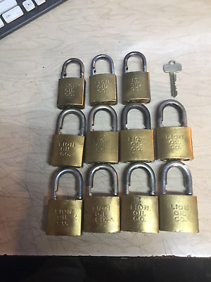 """Lot Of """"11"""" Vintage 1950's Brass Best Brand Padlock With Lion Oil Co. On All 11"""