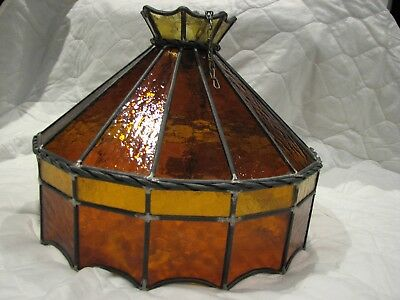 Stunning Vintage/Antique Stained Glass Lead Light Hanging Lamp Shade