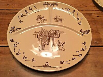 """1950's TEPCO WESTERN TRAVELER Divided 13"""" Huge Grill Restaurant CHOP PLATE Rodeo"""
