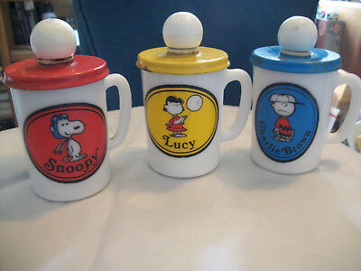 3 Vintage 1969. Charlie Brown, Snoopy & Lucy Milk Glass mugs. with Lids, Avon