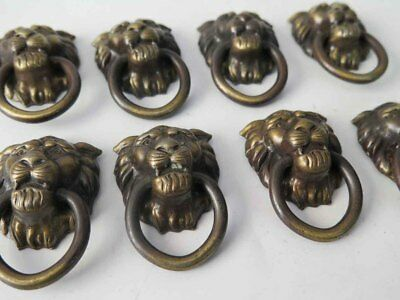 Set of 8 Vintage Brass Lion's Head Drawer Pulls Knobs Rings Lion Head Pulls