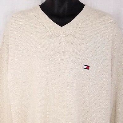 Tommy Hilfiger Mens Sweater Vtg 90s Heavy V Neck Flag Streetwear Ivory Size 2XL