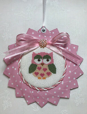Finished Completed Cross Stitch Owl Pink Baby Gift Nursery Girls Room Wall Decor