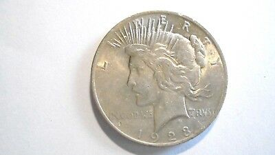 1923 Peace dollar, Higher grade, sharp coin, bright luster 90% Silver