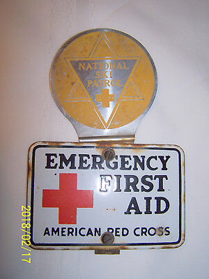 Vintage First Aid American Red Cross Emergency & National Ski Patrol Metal Tag