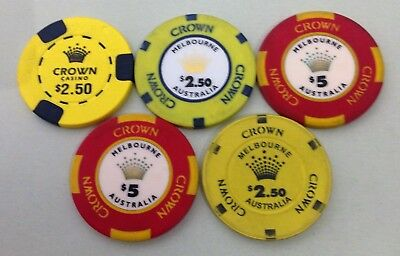 Five Crown Gaming chips 3 x $2.50 2 x $5.00