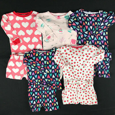 CARTERS Baby Girl Size 12 Months Cotton 2 Piece Pajamas Clothes Lot of 5 pair