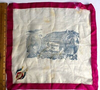 Antique silk handkerchief hankie WWI Remember Me poem embroidered French flags