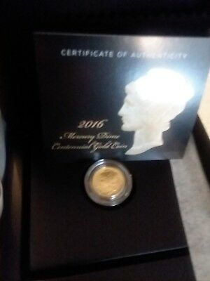 2016-W 1/10 oz Gold Mercury Dime Centennial (w/OGP) sealed opened for picture