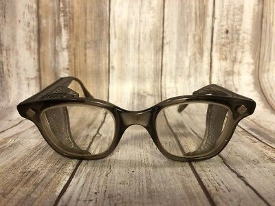 Vintage Steampunk Protective Glasses Mesh Bouton U-Fit 1970's *WOW*
