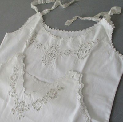 2 Antique c1900 Hand Made ITALIAN Trousseau Needle LACE Embroidered BABY Dresses