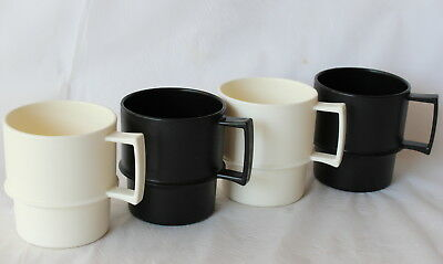 Vintage RETRO Tupperware Set 4 Cups MUGS Black and White