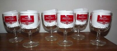 OLD MILWAUKEE BEER GLASSES SET OF 6 Thumbprint Goblet  Bar BREWERY WISCONSIN