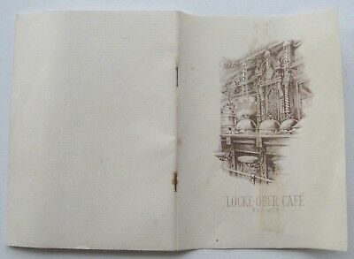 Booklet For The Locke-Ober Cafe Boston  Brief History Sherma L. Whipple III