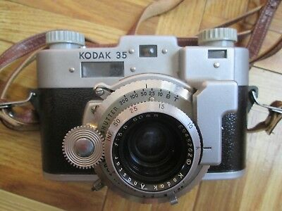 Vintage Kodak 35 35mm Film Rangefinder Camera Anastar 50mm f3.5 lens v good