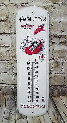 """Texaco Fire Chief Thermometer Hatful of Pep Metal 16"""" tall Gasoline Texas Co"""