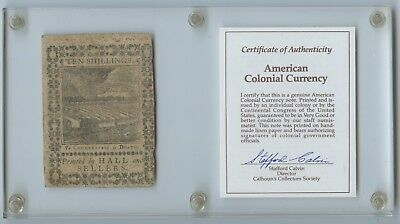 """1773 American Colonial Currency 10 Shillings """"To Counterfeit is Death"""" w/ COA"""