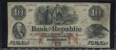 1853 $10 Dollar Bank of the Republic Obsolete Bank Note-Providence, Rhode Island
