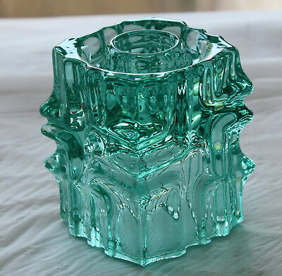Vintage Sklo Union Czech ART GLASS Blue Candle Holder Rosice Vladislav