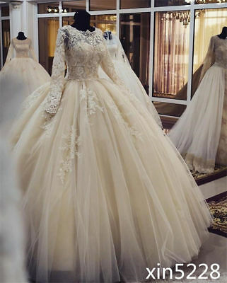 Champagne Ball Gown Lace Applique Wedding Dress Long Sleeve Bridal Gown Custom