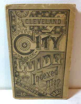 """1882 """"Cleveland City Guide with Indexed Map"""" Ohio history, downtown, foldout old"""