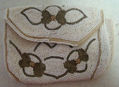 Vintage Beaded Purse White & Gold Clutch w Flower Like Design ART DECO Real Nice